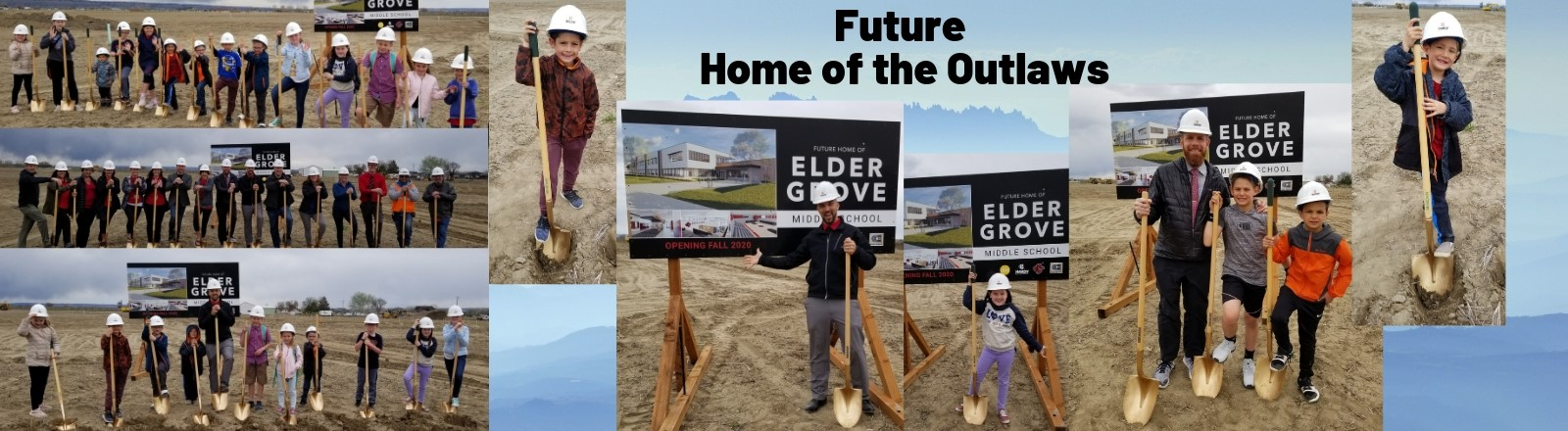 Images of students and staff at groundbreaking ceremony