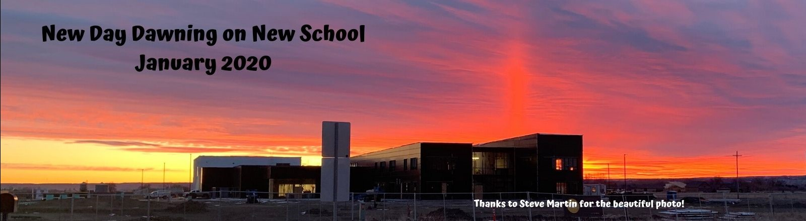 Photo of sunrise over new middle school